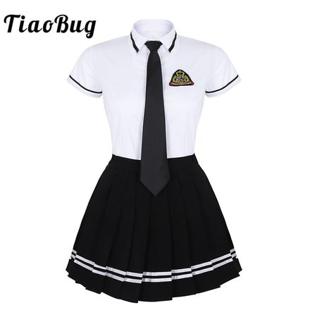 TiaoBug Japanese School Girl Uniform Suit White Short Sleeve T shirt Top Pleated Skirt Cosplay Korean Girls Student Costume Set-in School Uniforms from Novelty & Special Use on Aliexpress.com | Alibaba Group