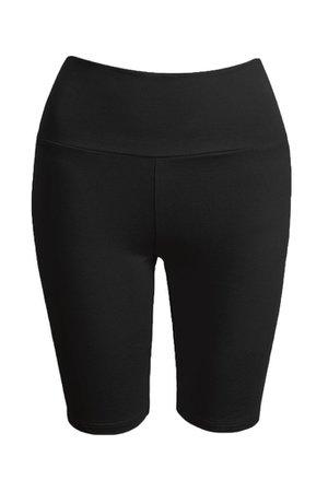LE3NO Womens Active Stretchy Cotton Jersey Knit High Waist Biker Shorts | LE3NO black