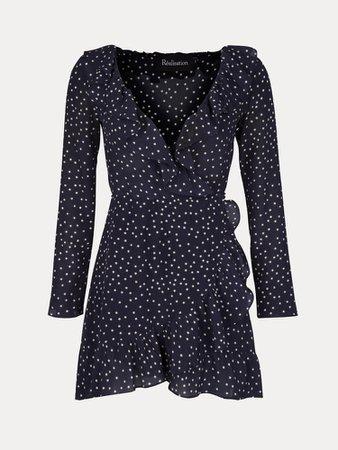 The Alexandra Navy Star   Silk Wrap Dress   Réalisation Par