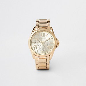 Rose gold rhinestone mesh strap round watch - Watches - women