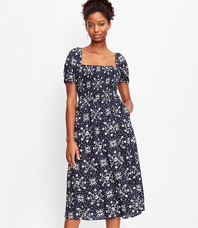 Petite Floral Smocked Puff Sleeve Midi Dress