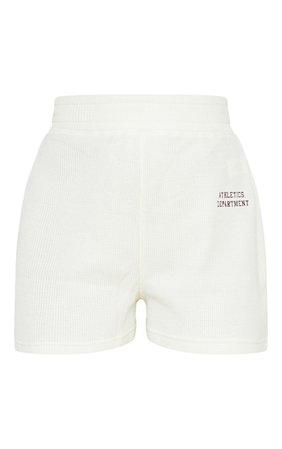Petite Cream Waffle Slogan Detail Sweat Shorts | PrettyLittleThing USA