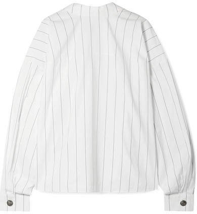 Reversible Oversized Pinstriped Cotton-poplin Shirt - White