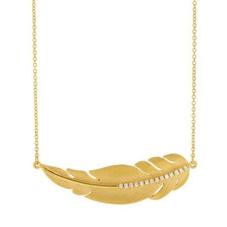 "Marika Diamond Feather Necklace in Yellow Gold, 19""   Borsheims"
