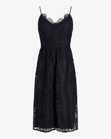 Lace V-neck Midi Dress   Express