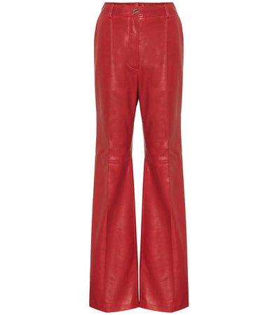High-Rise Flared Leather Pants - Gucci | Mytheresa