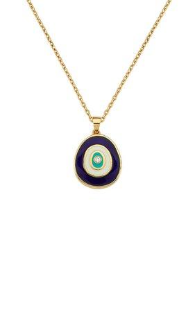 Evil Eye 18k Yellow Gold Enamel And Diamond Necklace By Gilan | Moda Operandi
