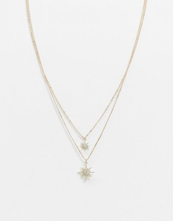 Pieces multichain necklace with star pendants in gold | ASOS