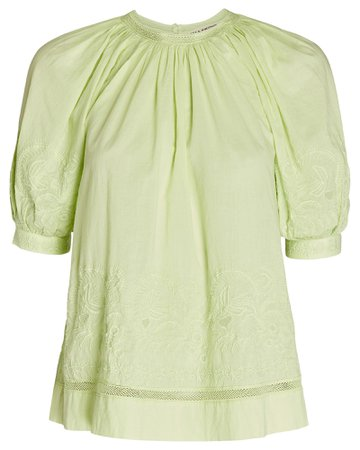 Ulla Johnson Blythe Embroidered Cotton Top | INTERMIX®
