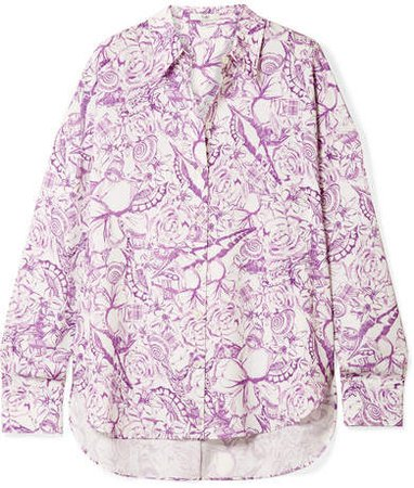 Isa Printed Crepe De Chine Shirt - Lilac