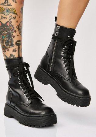 Current Mood Karma Police Combat Boots | Dolls Kill