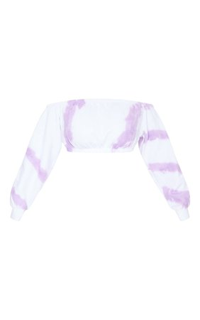 Lilac Tie Dye Long Sleeved Bardot Sweat Top | PrettyLittleThing USA