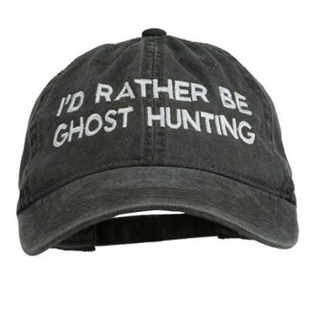 """grey """"i'd rather be ghost hunting"""" baseball cap"""