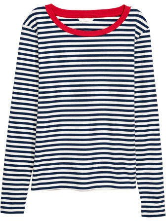 Striped Jersey Top - Blue