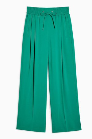 Green Elastic Waist Pleated Joggers | Topshop