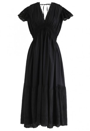 Frill Hem Plunging V-Neck Sleeveless Maxi Dress in Black - NEW ARRIVALS - Retro, Indie and Unique Fashion