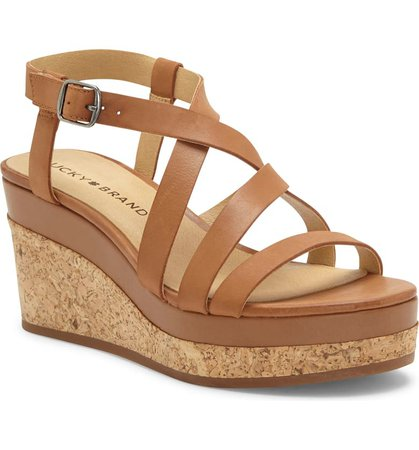 Lucky Brand Batikah Strappy Wedge Sandal (Women)   Nordstrom