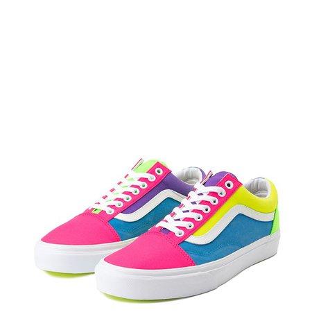 Vans Old Skool Neon Color-Block Skate Shoe - Pink / Purple / Yellow | Journeys