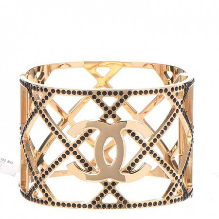 CHANEL Crystal CC Cuff Bracelet Black Gold 266842