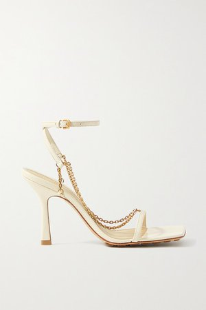 Chain-embellished Leather Sandals - Off-white