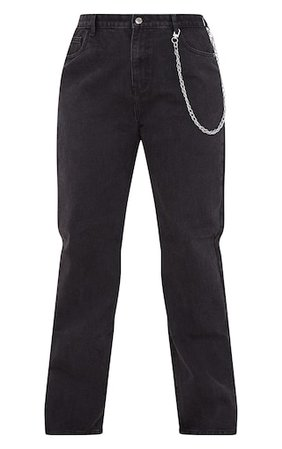 Plus Washed Black Split Hem Jeans | Plus Size | PrettyLittleThing USA