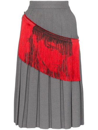 Calvin Klein 205W39nyc fringe detail pleated midi skirt - Grey