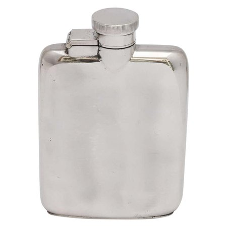 Art Deco Sterling Silver Flask with Hinged Lid For Sale at 1stdibs