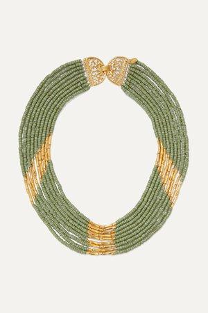 Green Mitu gold-plated and bead necklace | Bibi Marini | NET-A-PORTER