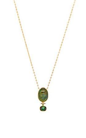 Labradorite Scarab Necklace By Lito | Moda Operandi