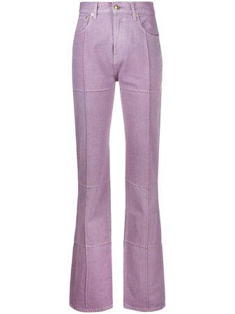 Shop purple Jacquemus corduroy detail high-waisted trousers with Express Delivery - Farfetch