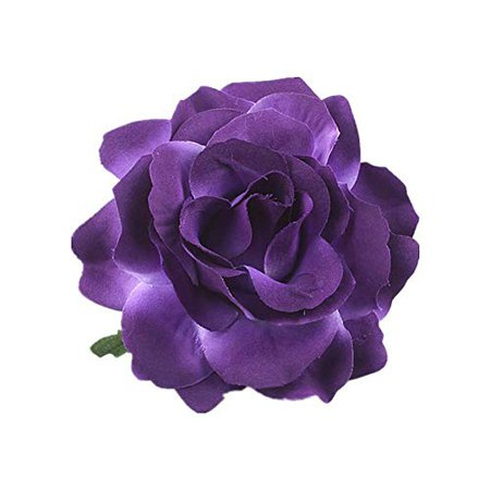 Amazon.com: Lovefairy Beautiful Rose Flower Hair Clip Pin up Flower Brooch For Party Travel Festivals (Dark Purple): Jewelry