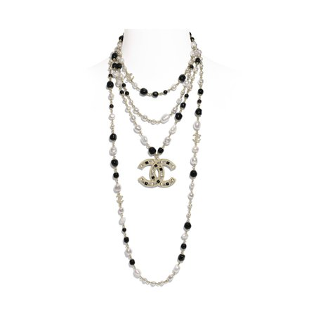 Metal, Cultured Fresh Water Pearls, Glass Pearls & Strass Gold, Pearly White, Black & Crystal Long Necklace | CHANEL