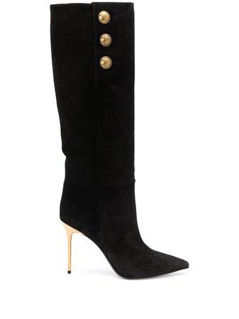 Balmain gold-tone Detail Pointed Toe Boots - Farfetch