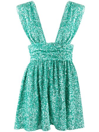 Shop green Amen Amen plunge-neck sequin mini dress with Express Delivery - Farfetch