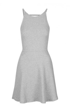 MARL-GREY-THICK-RIBBED-STRAPPY-SKATER-DRESS-