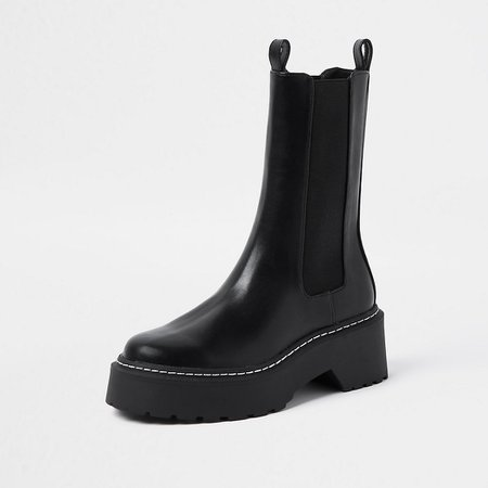 Black faux leather chunky boots   River Island