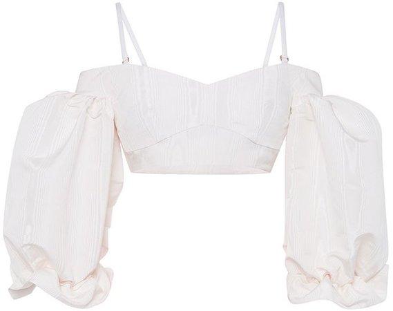 Alessandra Rich White Silk Moiré Bralet Top
