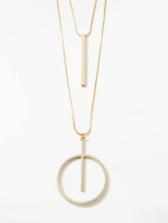 John Lewis & Partners Long Circle Bar Layered Chain Necklace, Gold at John Lewis & Partners