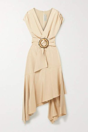 Protea Belted Wrap-effect Silk Crepe De Chine Midi Dress - Beige