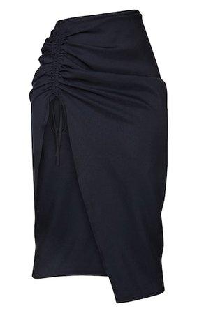 Black Woven Ruched Detail Midi Skirt   Skirts   PrettyLittleThing USA