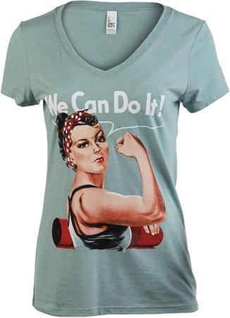 Amazon.com: Rosie The Yogi | Cute, Funny Riveter Yoga Mat Fun Workout V-Neck T-Shirt Top for Women-(Vneck,M): Clothing
