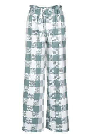 Large Scale Gingham Self Belt Pants | Boohoo