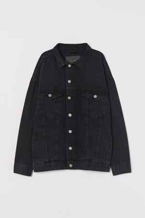 Oversized Denim Jacket - Black - Ladies | H&M US