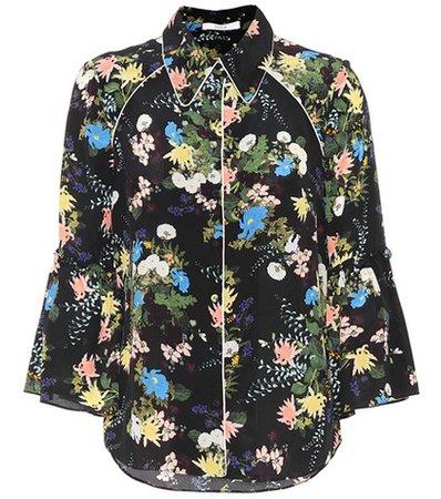 Aran floral-printed silk blouse
