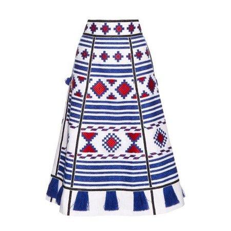 Vita Kin Geometric-embroidered linen skirt