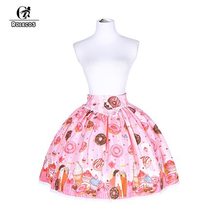 ROLECOS New Arrival Doughnuts Print Chiffon Pink Short Skirt Gothic Lolita Princess Skirt Japanese Style Party For Women Dress Themes For Party Halloween Costumes For Five From Movearound, $60.98| DHgate.Com