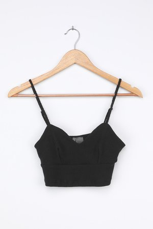 Black Ribbed Cami - Cropped Cami Top - Black Bralette