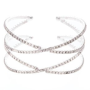 Silver Glass Rhinestone Criss Cross Bracelet | Claire's US