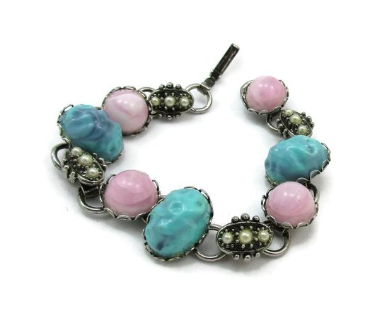 Silver Tone Pink Teal Cabochon Bracelet Clasp Panel Style   Etsy