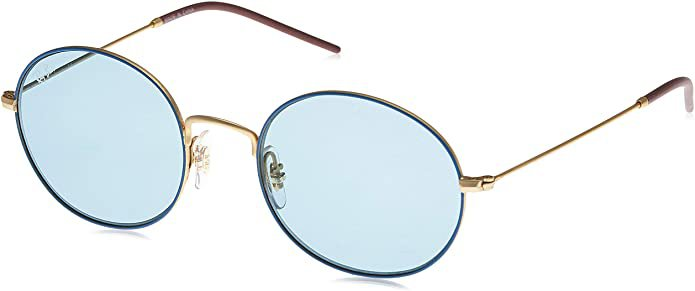 Amazon.com: Ray-Ban RB3594 Beat Oval Sunglasses, Blue On Gold/Blue, 53 mm: Shoes